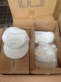LOT 1050 CASQUETTES BLANCHES EN COTON,1$CH EN LOT-thumb